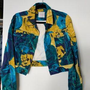 Floral Denim Cropped Jacket